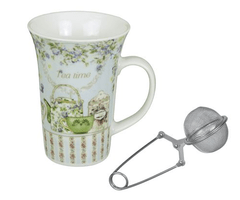"Mug large de porcelana ""Tea Time"" con infusor de regalo"