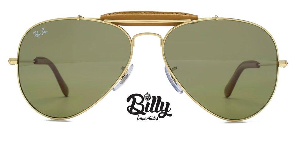 467669b6abb2b Ray Ban Caçador RB3422 - Verde   Dourado