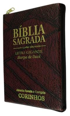 Bíblia letra gigante com harpa - capa co...