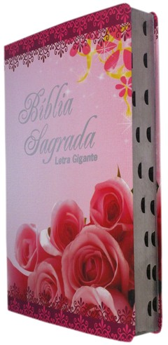 Bíblia letra gigante - capa luxo floral...