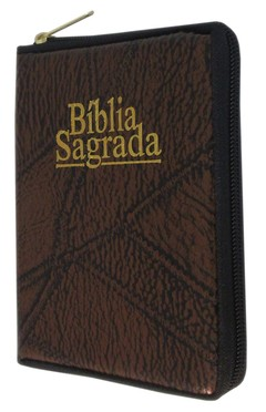 Bíblia pequena - capa com zíper café cos...