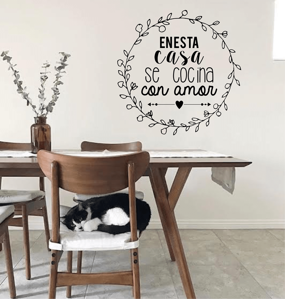 Vinilo Decorativo Frase En Esta Casa Se Cocina Con Amor