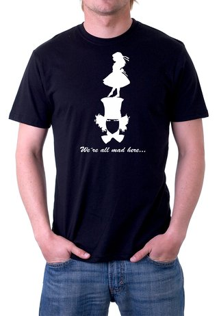 Camiseta Alice We are all mad here- 100% Algodão (Modelo 5)