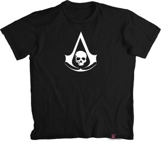 Camiseta Assas. Creed Black Flag logo Insignea- 100% Algodão (modelo 2)