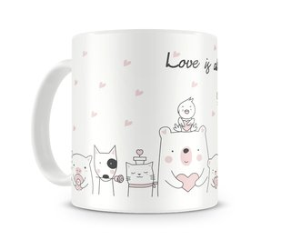 Caneca Branca Fofa Animais All you need is Love
