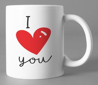 Caneca Branca I love you  Minimalista
