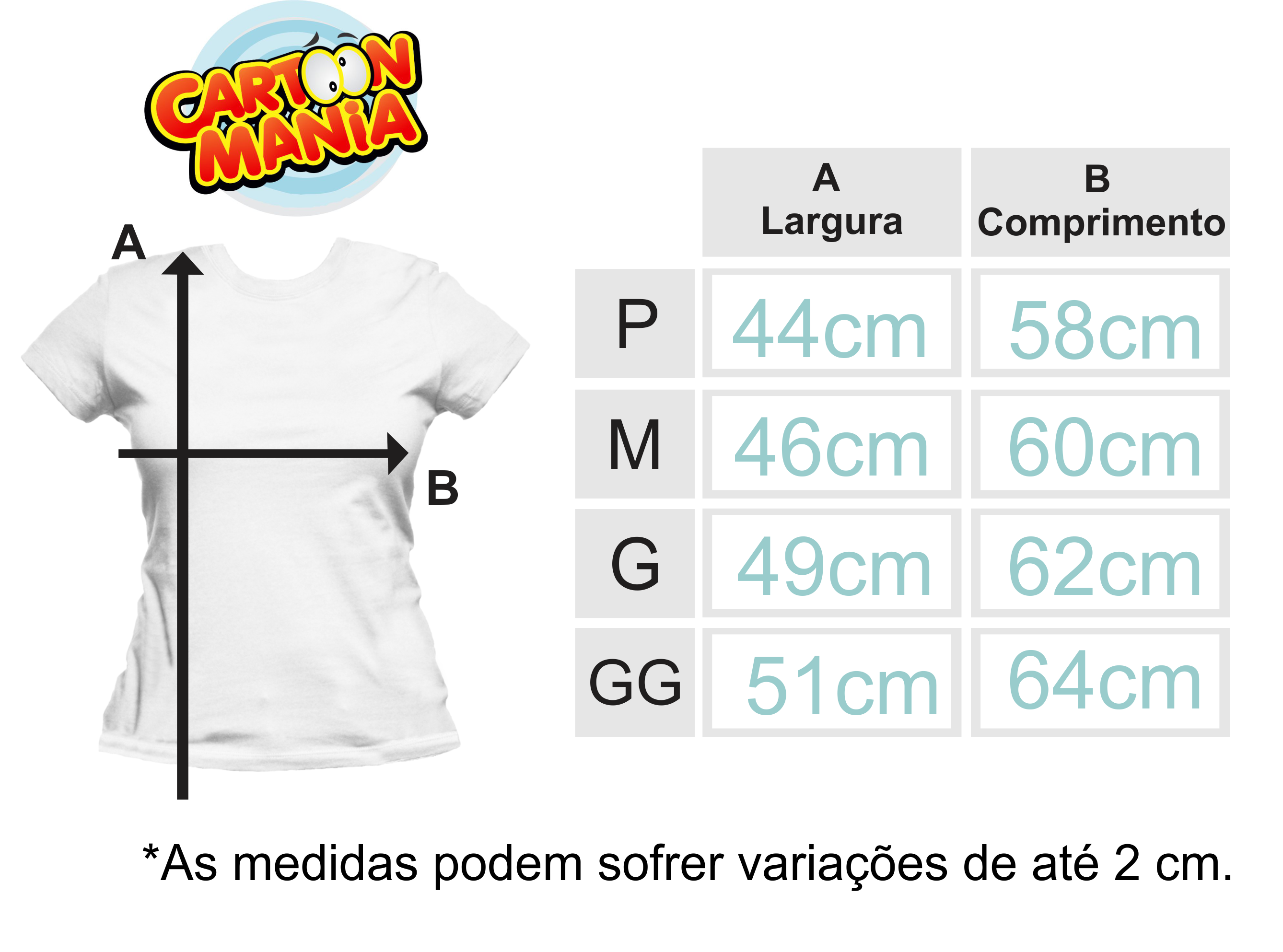 Tabela de Medidas Baby Look Cartoon Mania