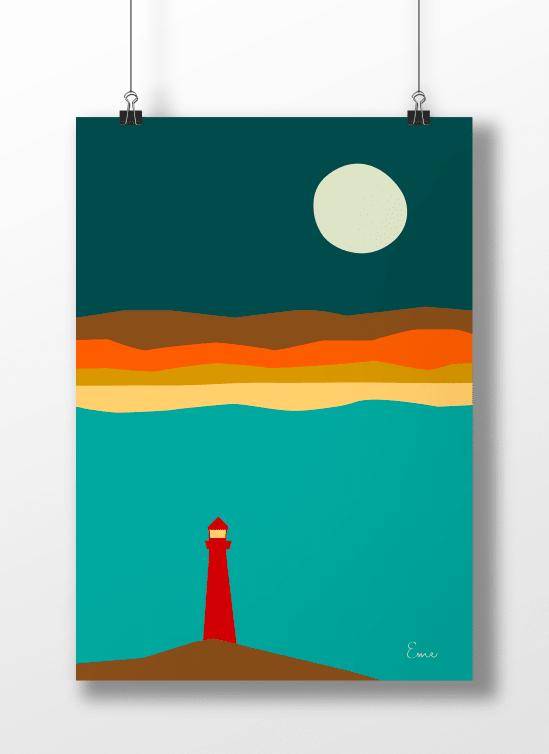 Noche - Serie Minimalista - Punto Eme Arte Impreso