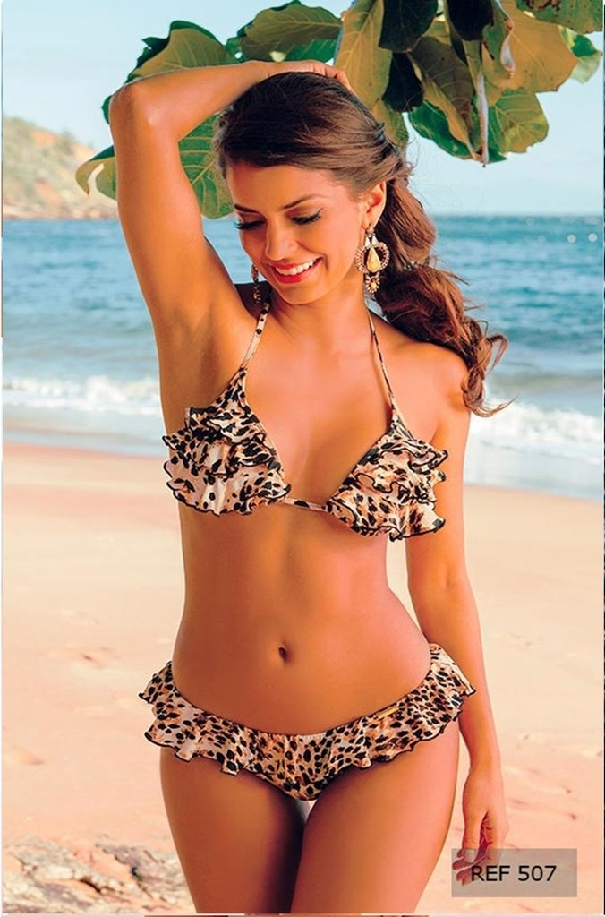 befe38213 Biquíni - cortininha com bojo-fio dental-animal — Bumbum Bronze-moda ...