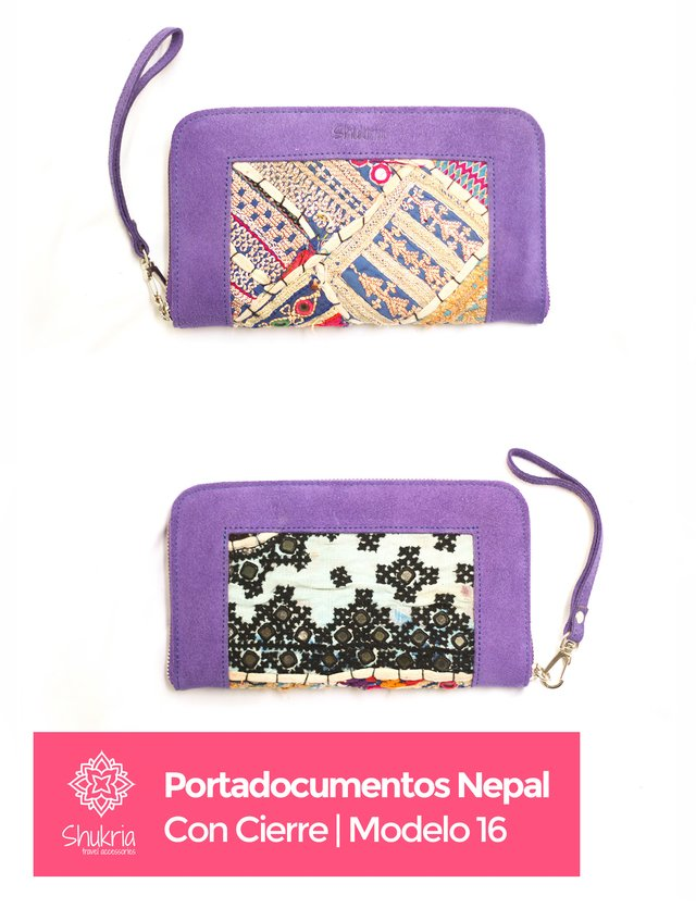 Portadocumentos Nepal con Cierre - Shukria Travel Accessories