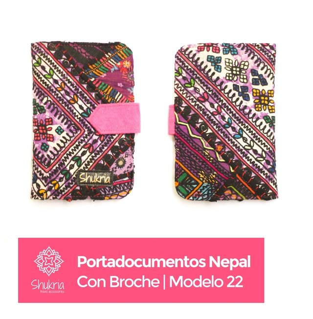 Portadocumentos Nepal con Broche - Shukria Travel Accessories