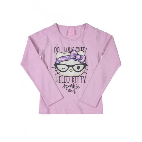 Blusa Hello kitty Manga Longa Rosa 88176