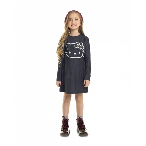 Vestido Moletom Indigo Hello Kitty Preto 88188