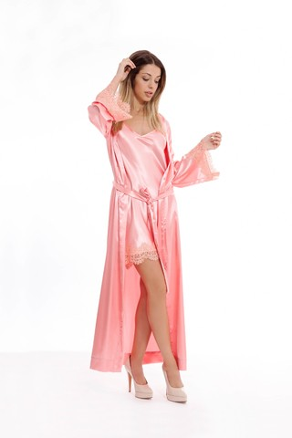 Set Florencia - Bata Larga y nightdress midi