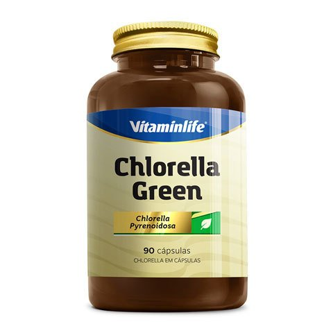 Pote com CHLORELLA GREEN 90(CAPS) VITAMINLIFE