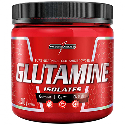 Pote com ISOLATE GLUTAMINE POWDER 300G - INTEGRALMÉDICA