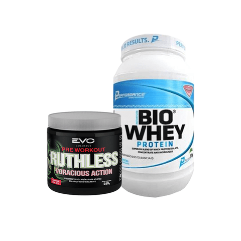 KIT BIO WHEY  909G PERFORMANCE NUTRITION + RUTHLESS VORACIOUS 250G EVO COLOSSUS