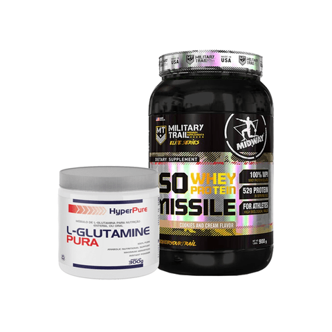 KIT ISO WHEY PROTEIN MISSILE 930G MILITARY TRAIL MIDWAY + L-GLUTAMINE PURA 300G HYPERPURE