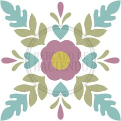 STAMPED CANVAS CENTERED FLOWER | SIZE 30x30 CM