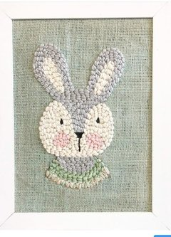STAMPED CANVAS | COLOURED BUNNY MOTIF | FORMAT 30X30 CM - buy online