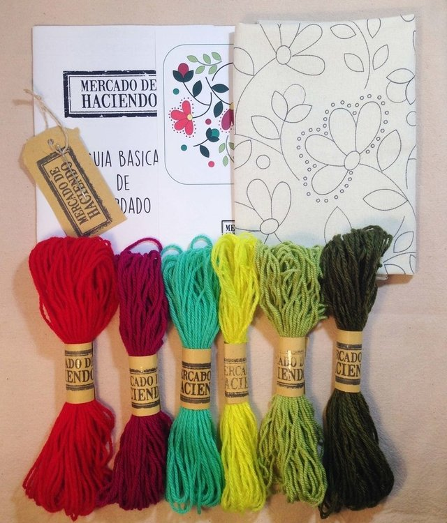 KIT DE BORDADO MEXICANO FLORES MEX - Mercado de Haciendo