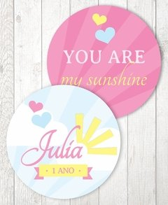 "Círculos de 5 cm (2"") - You are my Sunshine"