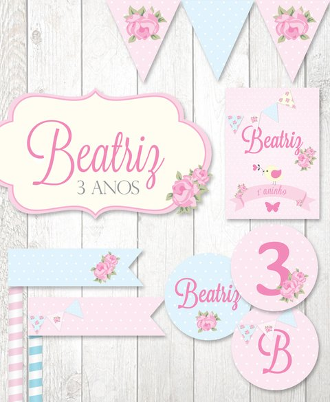 Kit Digital para mesa - Festa Shabby Chic