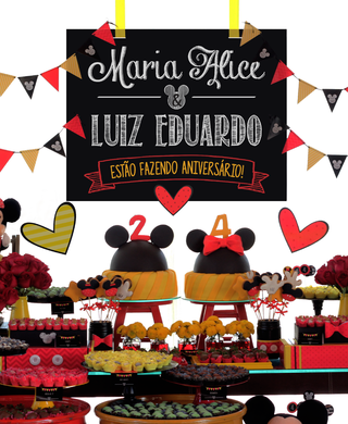 Kit Digital para mesa - Festa Mickey e Minnie