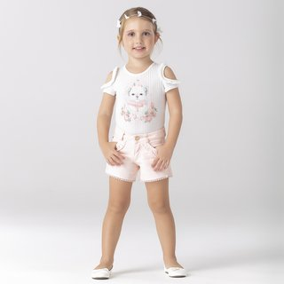 Conjunto Body e Shorts Lovely Bordado Petit Cherie - comprar online