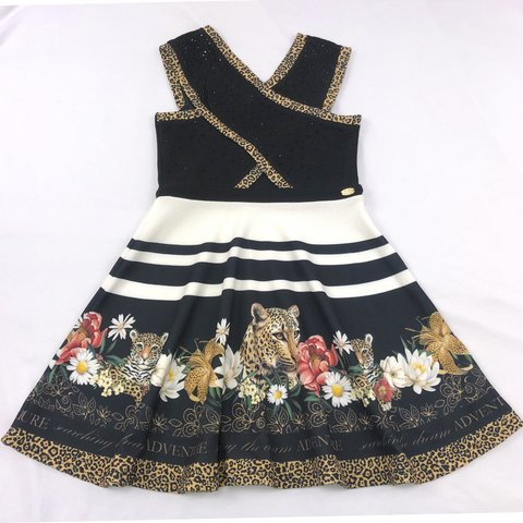 Vestido Black Animal Print Petit Cherie
