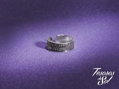 A 806 - Anillo de Plata 925 -  Falange - Ancho Labrado Doble guarda (5 mm)