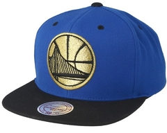 "MITCHELL & NESS GOLDEN STATE WARRIORS XL 2 TONE ""BLUE/BLACK/GOLD"" SNAPBACK"