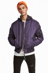 H&M PADDED BOMBER PURPLE JACKET - MEN'S