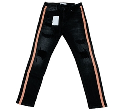 Zara Man Skinny Stretch Ripped Knee Jeans Orange Sideband en internet