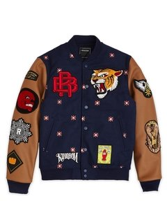 REASON KINGDOM VARSITY JACKET - NAVY