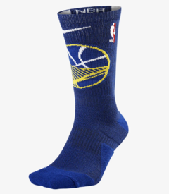 NIKE ELITE NBA GOLDEN STATE WARRIORS BASKETBALL CREW SOCKS BLUE