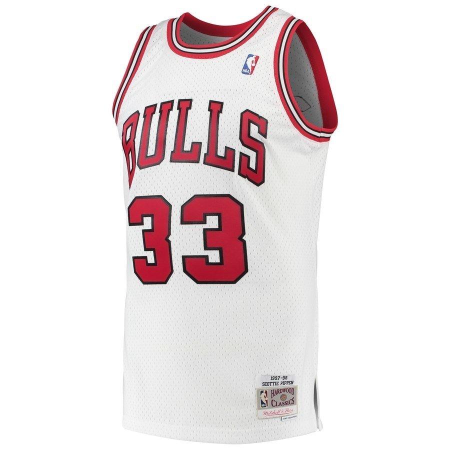 online store bfe92 55d29 Chicago Bulls Scottie Pippen Mitchell y Ness White 1997-98 Hardwood  Classics Swingman Jersey