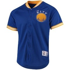 Mitchell & Ness Golden State Warriors Royal Seasoned Pro Mesh Button-Up Shirt Jersey - comprar online