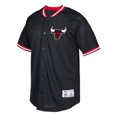 Men's Chicago Bulls Mitchell & Ness Black Seasoned Pro Mesh Button-Up Shirt
