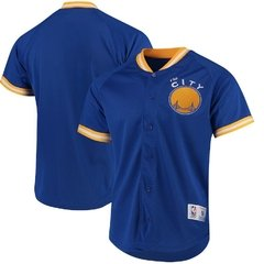 Mitchell & Ness Golden State Warriors Royal Seasoned Pro Mesh Button-Up Shirt Jersey