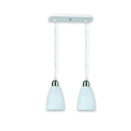 Lampara Colgante 2 Luces Platil Tulipas Satinadas Apto Led