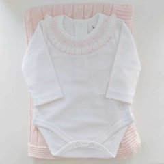 Body cuello smock blanco con rosa NB