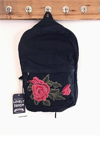 MOCHILA INE · DENIM DECO FLOWER