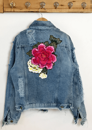 JACKET DENIM C/CINTURA FLOR 3D