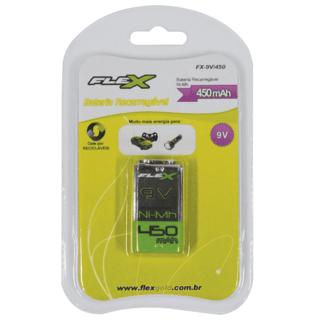 Bateria Recarregável 9V 450mAh Flex FX-9......