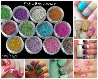 Caviar / Purpurina / Strass Surtido * 12 Colores surtidos * Manicuria Uñas Decoracion