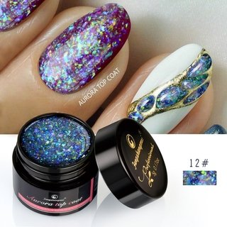 GEL AURORA TOP COAT UV PARA DECORACION DE UÑAS MARCA FENGSHANGMEI POR 5 grs. * VARIOS COLORES