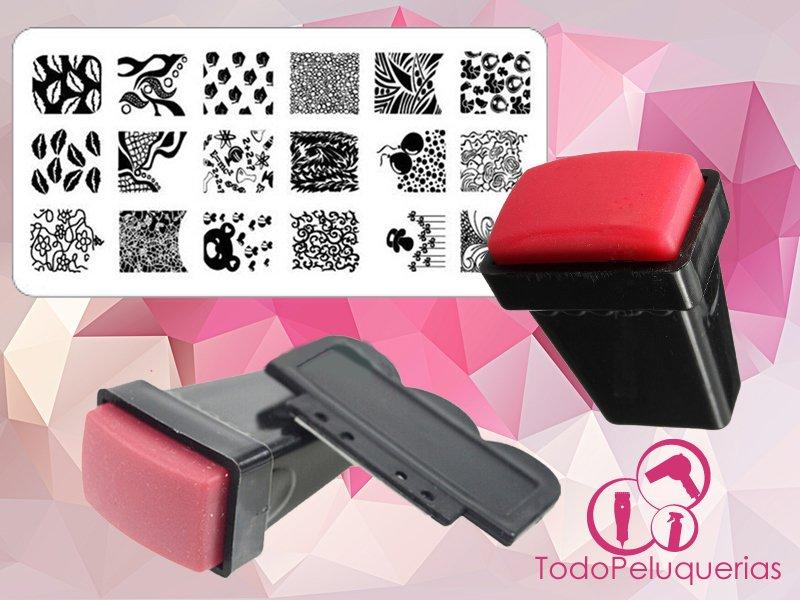 Sello Rectangular Nail Art Para Placa Stamping Decoracion De