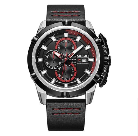 Relógio Masculino De Pulseira De Couro, 100% Original, Marca  MEGIR, Cores   Preto, Marrom e Azul 32e584ad9d