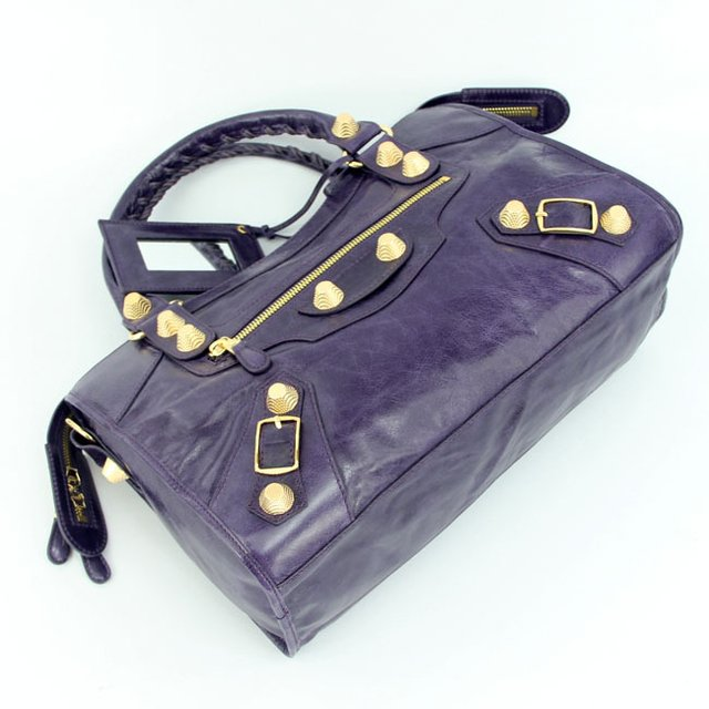 Bolsa Balenciaga Classic City Purple/Gold na internet